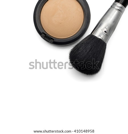 Powder brush and pressed powder isolated on white background with copy space - stock photo