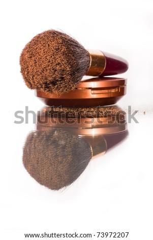 powder brush with powder - stock photo