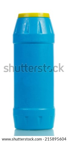 Powder cleaner in bottle on white background