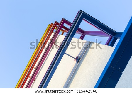 Powder coated colorful metal parts for facade  - stock photo
