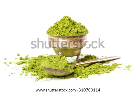 Powder green tea isolated on white background - stock photo