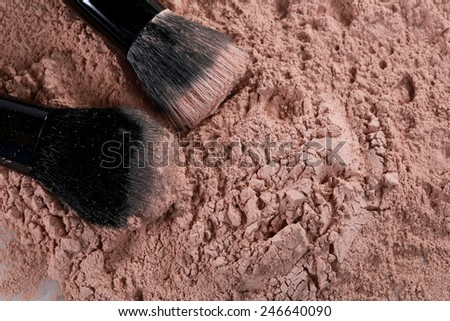 Powder Make Up Foundation Close Up With Detail - stock photo