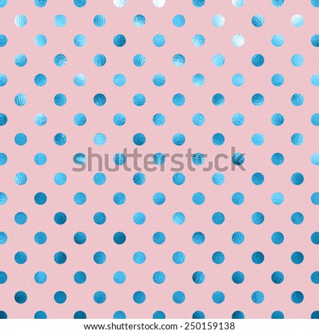 Powder Pink Baby Blue Metallic Foil Polka Dot Pattern Swiss Dots Texture Paper Color Background - stock photo