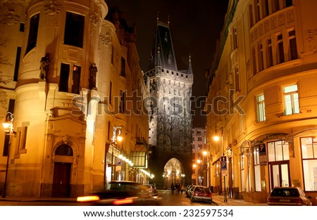 Powder tower in the city of Prague in evening lighting - stock photo