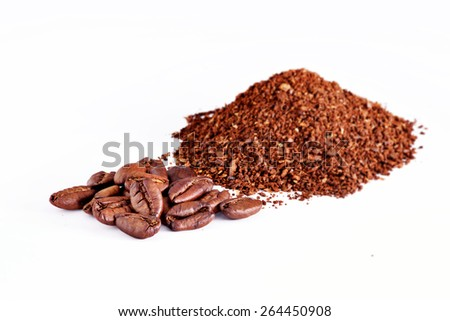 powder with coffee seeds - stock photo