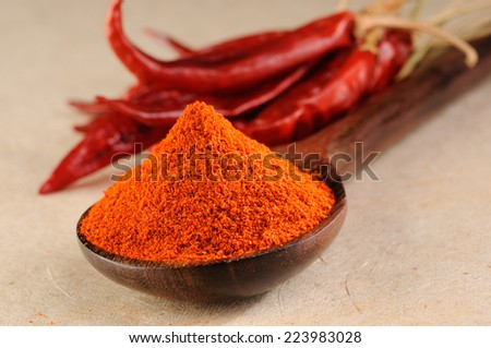 Powdered dried red pepper,powder paprika with wooden spoon,Chili powder in wooden spoon - stock photo