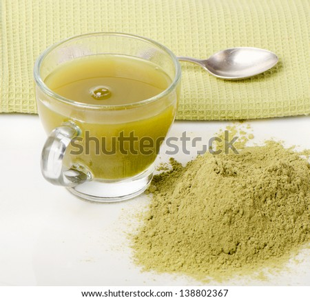 powdered green tea isolated on white background.Selective focus