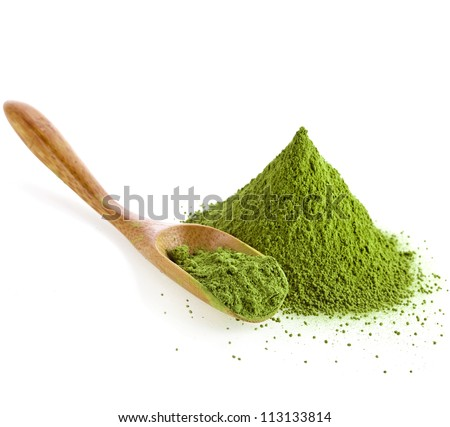 powdered green tea with bamboo spoon ,  isolated on white background - stock photo