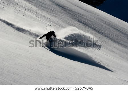 powderturn on snowboard - stock photo