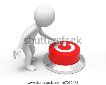 power /A man is pushing the button - stock photo