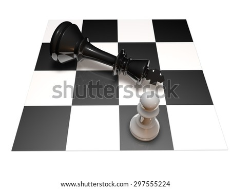 Power and defeat concept with chess pawn and chess king on chess board. Black and white illustration. - stock photo