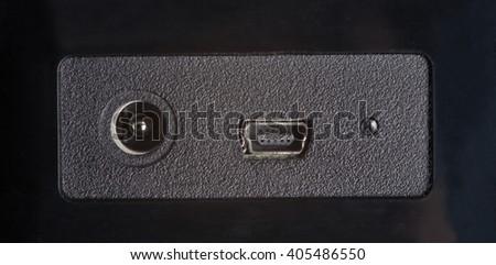 power and mini-usb connectror - stock photo