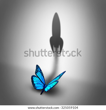 Power aspiration business concept and determined motivation symbol as a blue butterfly casting a shadow shaped as a rocket blasting off as a success potential metaphor. - stock photo