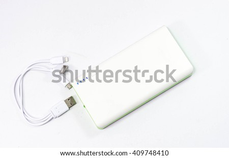 Power Bank green on wite