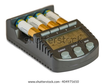 Power Battery Charger with rechargeable batteries isolated on white background. Technology concept.