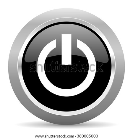power black metallic chrome web circle glossy icon