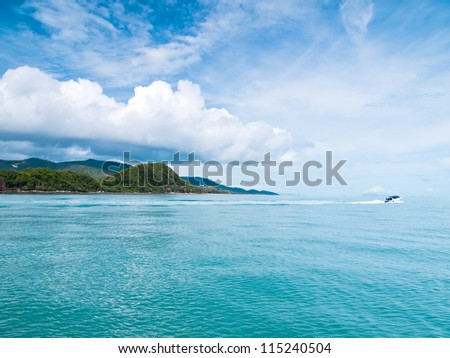 power boating on sea - stock photo