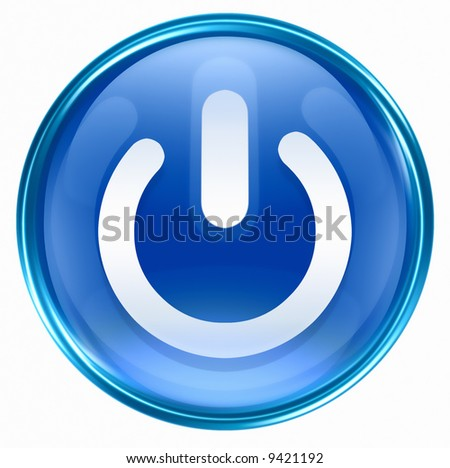 power button blue, isolated on white background. - stock photo