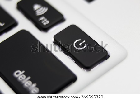 Power button close up - stock photo
