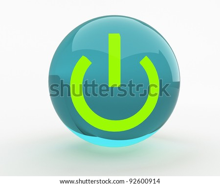 power button isolated over white - stock photo