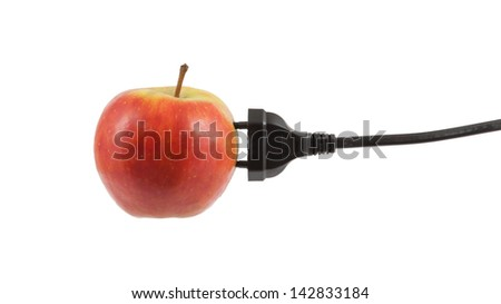 Power cable on apple, communication concept isolated on white