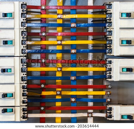 Power control cabinet industrial factory - stock photo