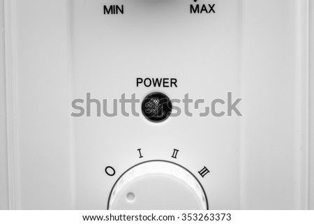 power control knob. Adjusting from minimum to maximum