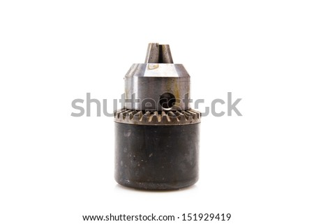 Power drill head over white background