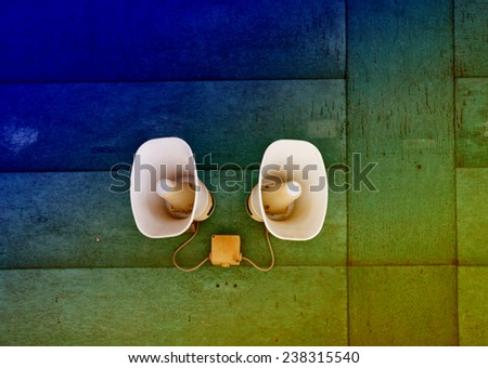 Power electric loudspeakers is on the wall  - stock photo