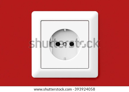 Power Electric Socket on a red wallpaper wall - stock photo