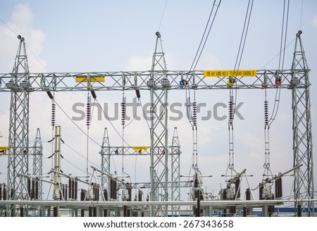 Power electrical substation yard - stock photo