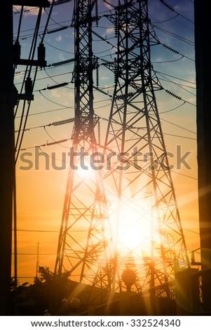 power electricity station on sunset light - stock photo