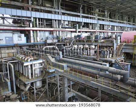 Power generator and steam turbine during repair at power plant - stock photo