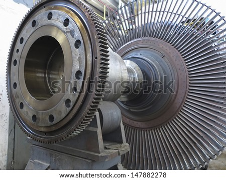Power generator steam turbine during repair process at power plant