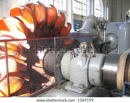 Power generator turbine in a water power station. Made in 1900