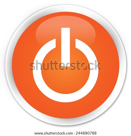 Power icon orange glossy round button
