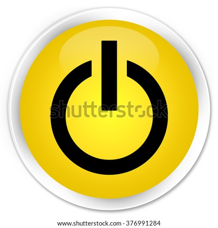 Power icon yellow glossy round button
