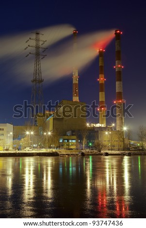 Power in the freezing night in Gdansk, Poland. - stock photo