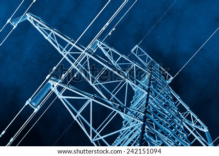 Power Line against sky background, x-ray effect - stock photo
