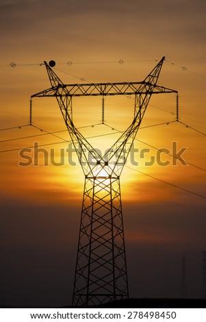 Power line in Zaragoza province, Aragon, Spain - stock photo