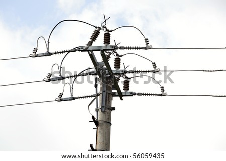 Power Line, power electric distribution - stock photo