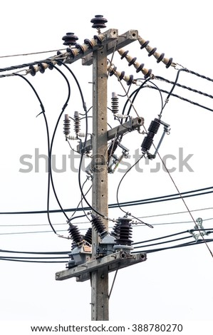 Power line pylon with insulators and wires isolated on white - stock photo