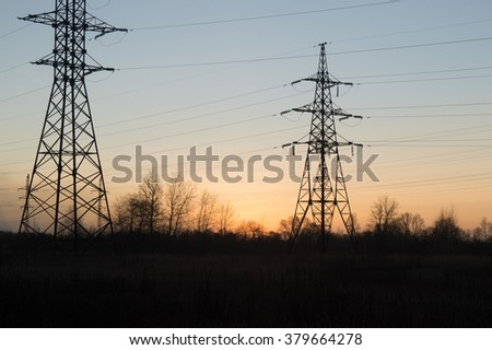 power line, sunset, wires, posts, poles, field, forest, trees, electricity