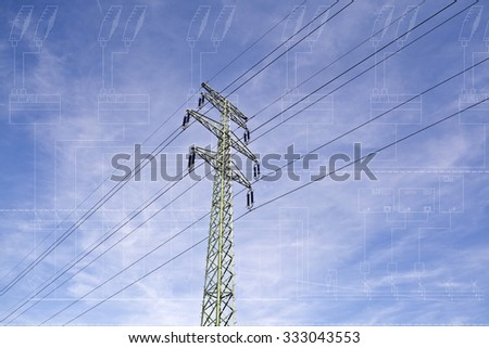 Power line tower with electrical technical single line diagram blueprint layer