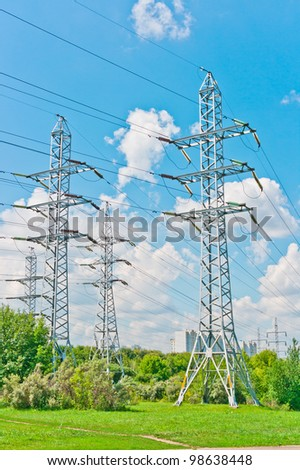 Power line towers in Moscow, Russia, East Europe - stock photo
