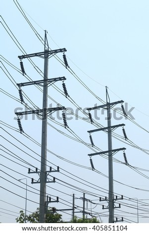 Power line , Transmission line , Electricity line. - stock photo
