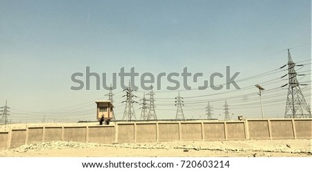 Power lines and towers in Egypt