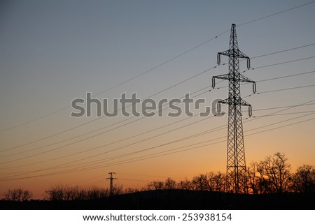 power lines in sunset