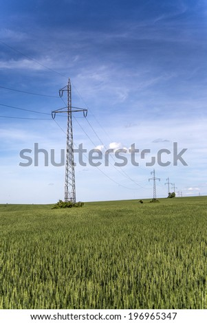Power lines in the field
