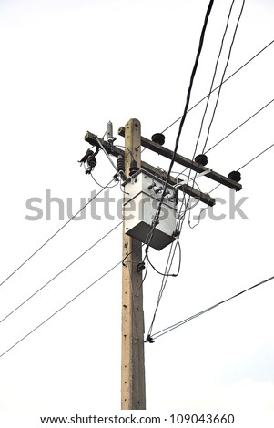 Power lines isolated - Power Transmission Lines - stock photo